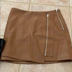 Gorgeous cognac colored faux leather skirt